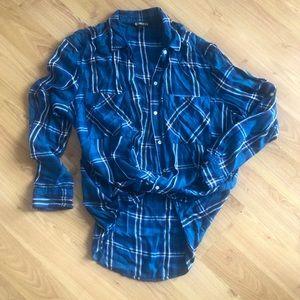 Supersoft Blue Plaid Boyfriend Flannel